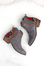 Faux Suede Floral Embroidered Booties with Low Heel-Grey