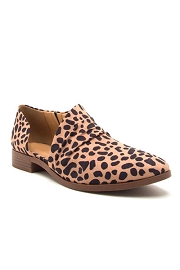 Closed Toe Faux Suede Side Cutout Flats-Cheetah Print