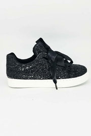 Satin Ribbon Bow Lace Up Glitter Sneakers-Black - (LIMITED TIME SALE!)