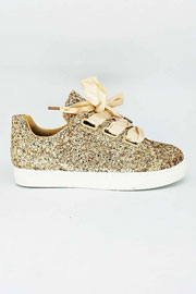 Satin Ribbon Bow Lace Up Glitter Sneakers-Gold - (LIMITED TIME SALE!)