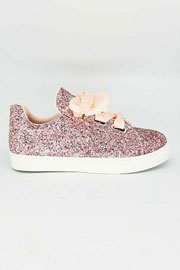 Satin Ribbon Bow Lace Up Glitter Sneakers-Pink - (LIMITED TIME SALE!)