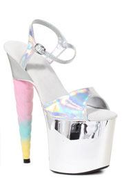 Unicorn High Heels Platform Sandal - Halloween Costume-Silver Halogram with Rainbow Unicorn Heel