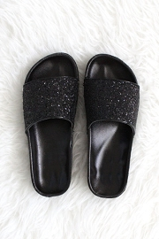 Slip On Glitter Lug Sole Flat Sandals-Black