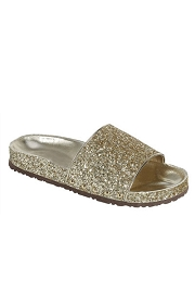 Slip On Glitter Lug Sole Flat Sandals-Gold