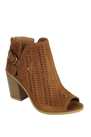 Faux Suede Open Peep Toe Ankle Booties with Mini Cutout Design-Tan Brown