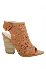 Laser Cut Peep Toe Faux Leather Ankle Booties with Stacked Heel-Camel Brown