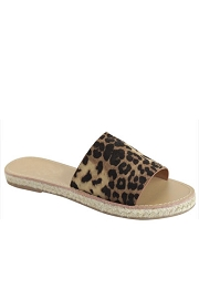 Espadrille Sole Single Band Sandals-Leopard Print