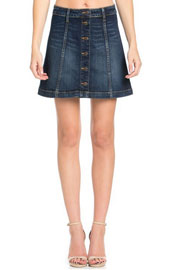 :As Seen In PEOPLE STYLEWATCH Magazine: Button Down Denim A-Line Mini Skirt-Dark Blue (LIMITED TIME 50% OFF!)