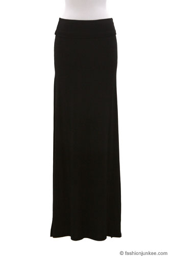Long Jersey Maxi Skirt with Foldover Waist, Double Slit-Black (30% OFF!)