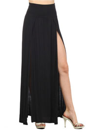 Long Jersey Maxi Skirt with Foldover Waist, Overlapping Double Slit-Black