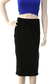 Knee Length Stretch Pencil Skirt with Side Slit-Black (70% OFF!)