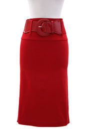 Career Buckle Cinch Belted Pencil Skirt-Red