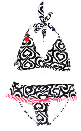Jeweled HEARTS Bikini, Ruffled Bottom-Black & White :  sexy bikini retro bikini hearts bikini ruffled skirt bikini