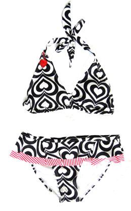 Jeweled HEARTS Bikini, Ruffled Bottom-Black & White :  ruffled skirt bikini jeweled bikini white bikini black bikini