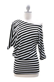 "3/4 Sleeve Jersey Off the Shoulder Top, Draped Arm-1/2"" Striped Black & White"