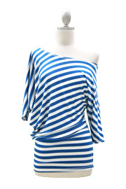 "3/4 Sleeve Jersey Off the Shoulder Top, Draped Arm-1/2"" Striped Blue & White"