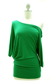 3/4 Sleeve Jersey Off the Shoulder Top, Draped Arm-Green