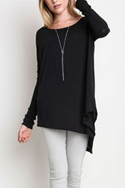 Asymmetrical Long Sleeve Loose Oversized Off the Shoulder Top-Black