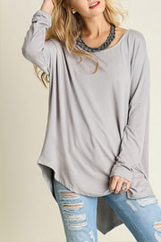 Asymmetrical Long Sleeve Loose Oversized Off the Shoulder Top-Grey
