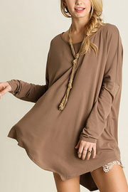 Asymmetrical Long Sleeve Loose Oversized Off the Shoulder Top-Mocha