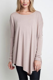 Asymmetrical Long Sleeve Loose Oversized Off the Shoulder Top-Taupe