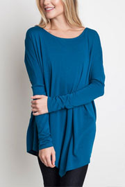 Asymmetrical Long Sleeve Loose Oversized Off the Shoulder Top-Teal