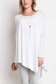 Asymmetrical Long Sleeve Loose Oversized Off the Shoulder Top-White