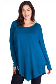 PLUS SIZE Asymmetrical Long Sleeve Loose Oversized Off the Shoulder Top-Teal
