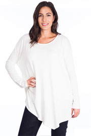 PLUS SIZE Asymmetrical Long Sleeve Loose Oversized Off the Shoulder Top-White