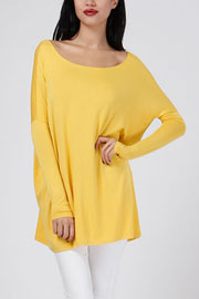 Bamboo Long Sleeve Loose Oversized Off the Shoulder Top-Mustard Yellow