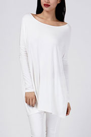 Bamboo Long Sleeve Loose Oversized Off the Shoulder Top-White