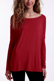 Piko Bamboo Long Sleeve Loose Oversized Off the Shoulder Top-Burgundy Dark Red