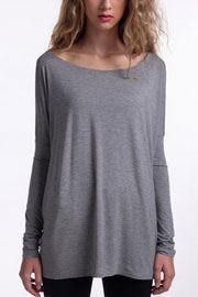 Piko Bamboo Long Sleeve Loose Oversized Off the Shoulder Top-Grey