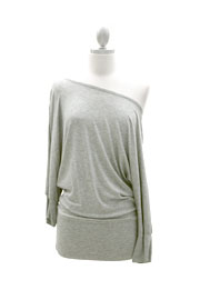 Jersey Banded Off the Shoulder Top, Draped Arm-Heather Grey