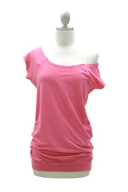 Cotton Off the Shoulder, Scoop Neck Side Ruched T-Shirt Tunic-Hot Pink