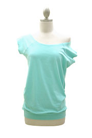 Cotton Off the Shoulder, Scoop Neck Side Ruched T-Shirt Tunic-Mint