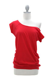 Cotton Off the Shoulder, Scoop Neck Side Ruched T-Shirt Tunic-Red