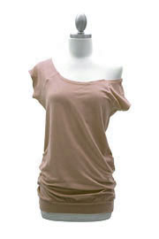 Cotton Off the Shoulder, Scoop Neck Side Ruched T-Shirt Tunic-Taupe