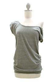 Slub Off the Shoulder, Scoop Neck Side Ruched T-Shirt Tunic-Grey