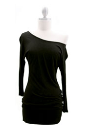Jersey 3/4 Sleeve Banded Off the Shoulder, Boat Neck Tunic Top-Black