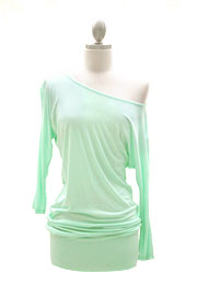 Jersey 3/4 Sleeve Banded Off the Shoulder, Boat Neck Tunic Top-Mint