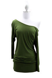 Jersey 3/4 Sleeve Banded Off the Shoulder, Boat Neck Tunic Top-Olive Green