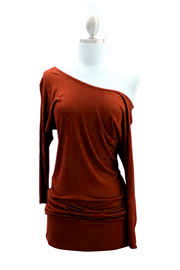 Jersey 3/4 Sleeve Banded Off the Shoulder, Boat Neck Tunic Top-Rust