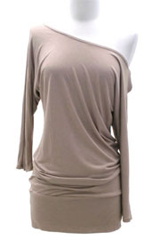 Jersey 3/4 Sleeve Banded Off the Shoulder, Boat Neck Tunic Top-Taupe