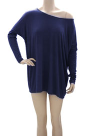 DEAL OF THE DAY! Long Sleeve Loose Oversized Off the Shoulder Top-Navy Blue