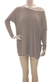 Long Sleeve Loose Oversized Off the Shoulder Top-Taupe