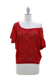 Burnout Distressed Cropped Off the Shoulder Top-Red