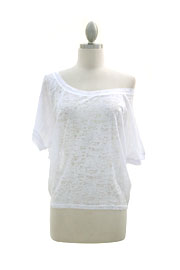 Burnout Distressed Cropped Off the Shoulder Top-White