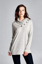 Long Sleeve Button Collar Turtleneck Tunic Top-Heather Grey
