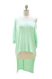 Jersey Hi Low Off the Shoulder Top with Buttons-Mint